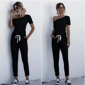 Black off one shoulder comfy jumpsuit